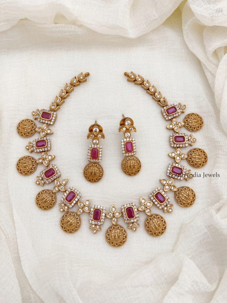 Traditional Ram Parivar AD Stone Necklace