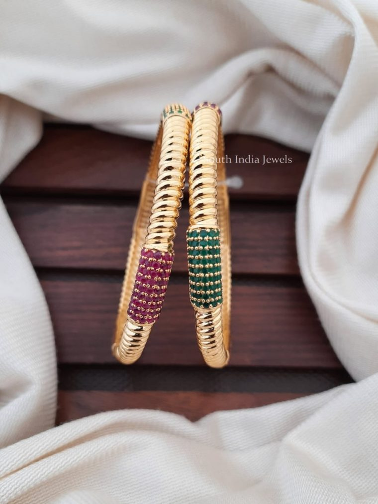 Traditional Ruby Emerald Stone Bangles