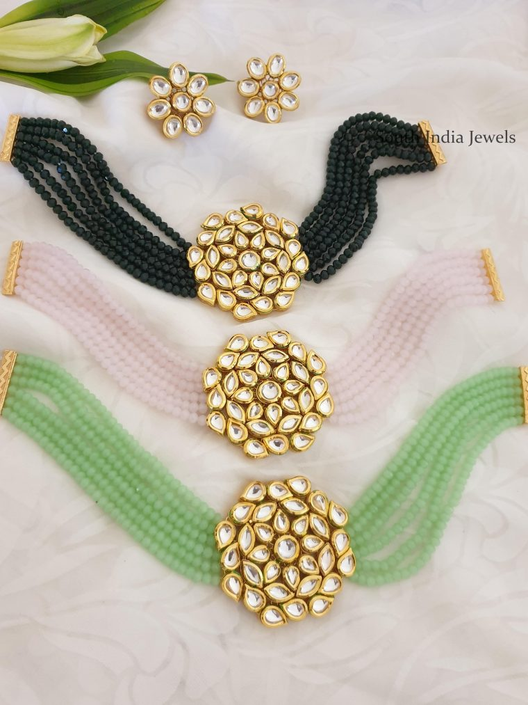 Trendy Kundan Beads Choker with Earrings -03