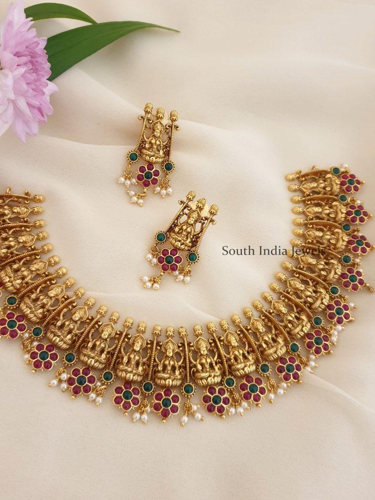Trendy Lakshmi Design Matte Finish Necklace