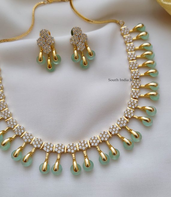 Trendy Pale Green AD Stone Necklace (3)