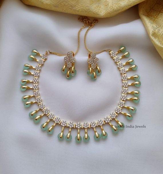 Trendy Pale Green AD Stone Necklace