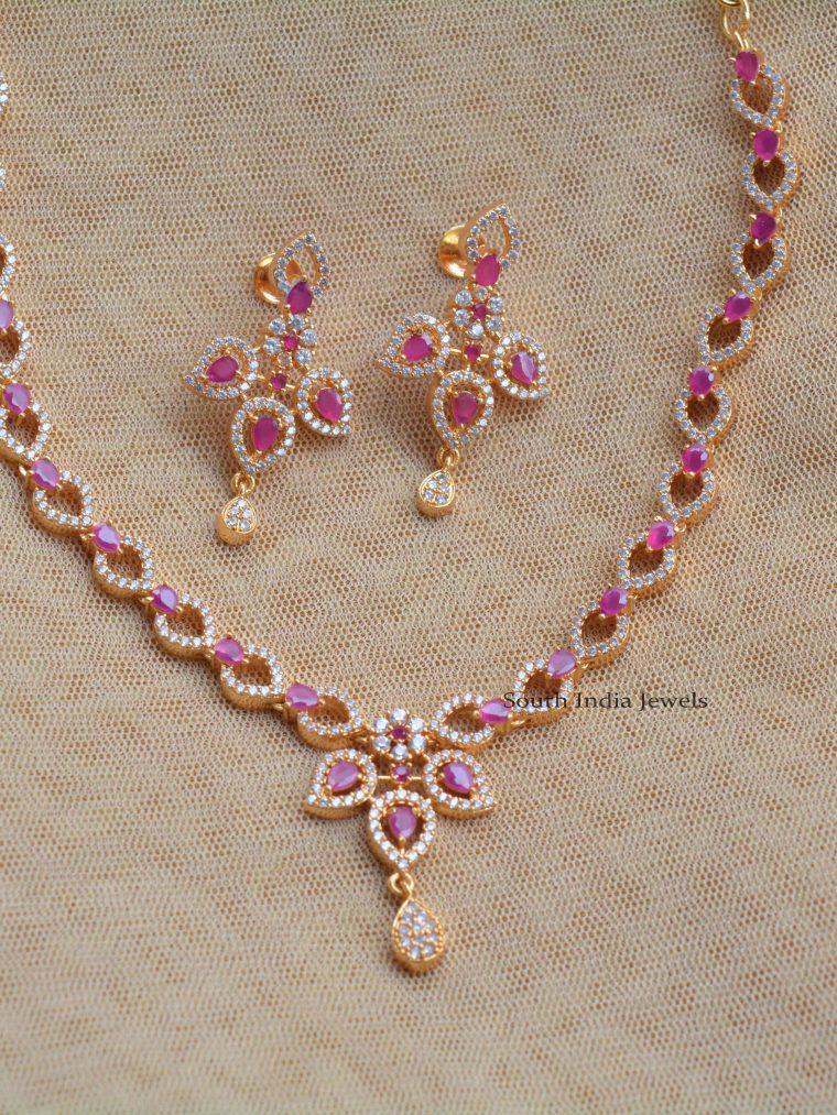 Unique AD & Ruby Stone Necklace