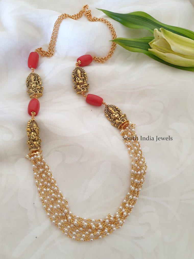 Unique Ganesha Design Pearl Necklace