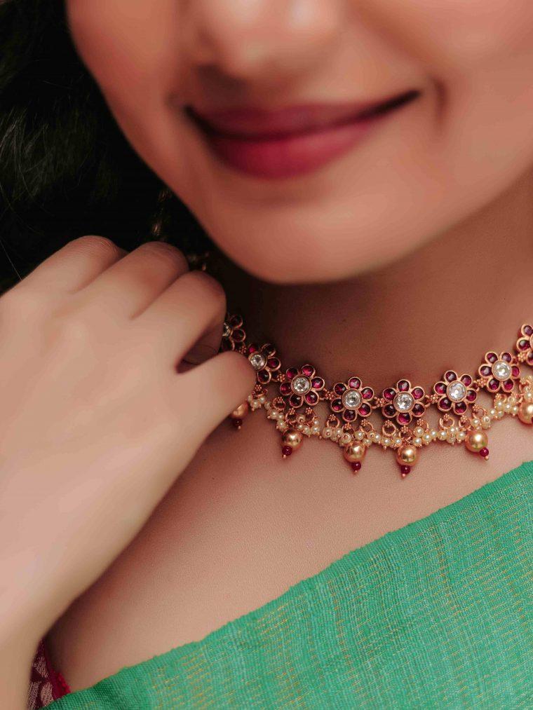 Unique Kemp Stone & Pearl Necklace