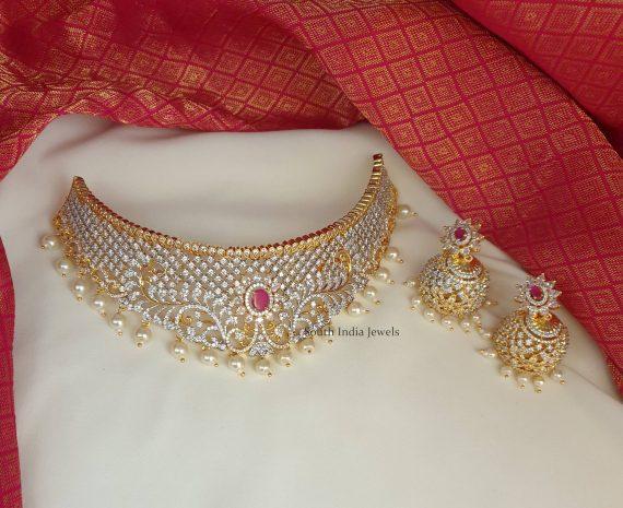 Adorable Bridal Choker with Jhumkas (2)