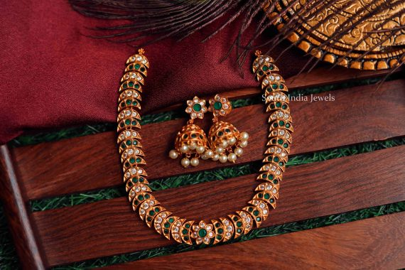 Ancient Emerald & White Stone Necklace