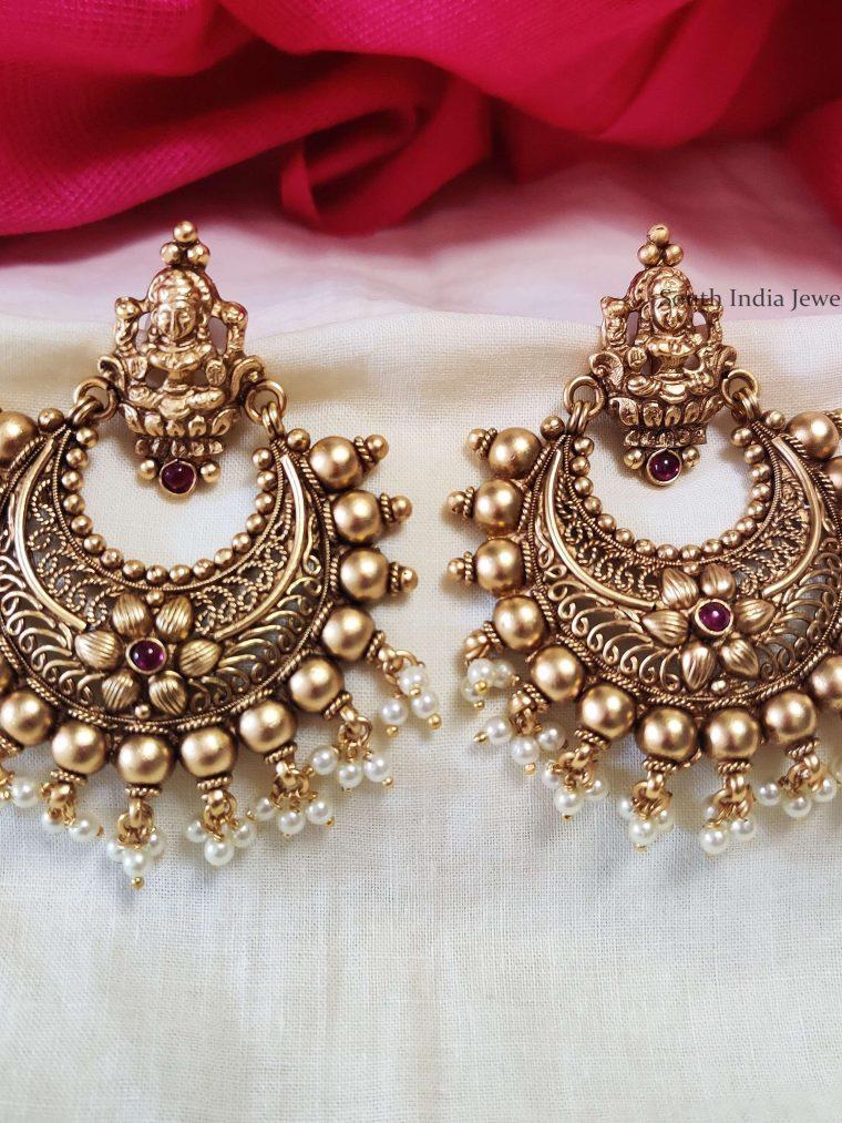 Antique Finish Chandbali Earrings