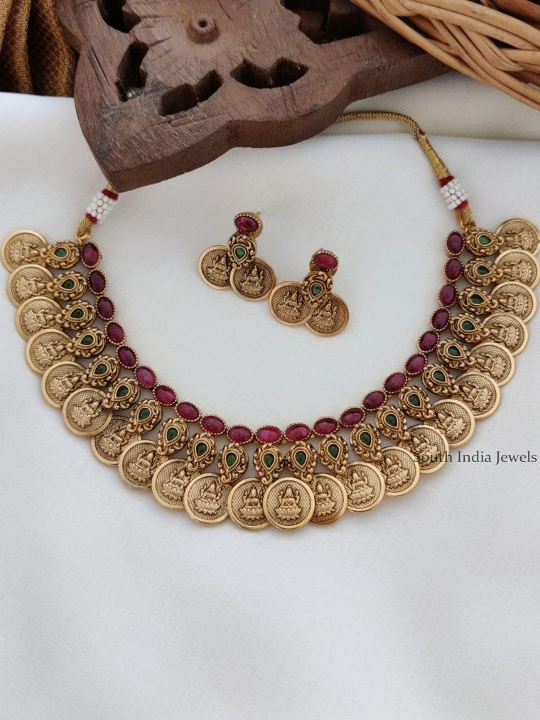 Antique Finish Lakshmi Coin Necklace