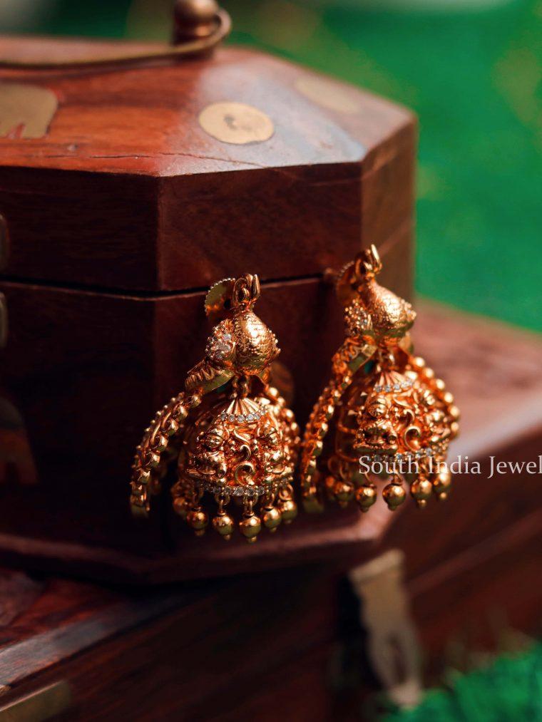 Antique Semi Precious Stones Jhumkas