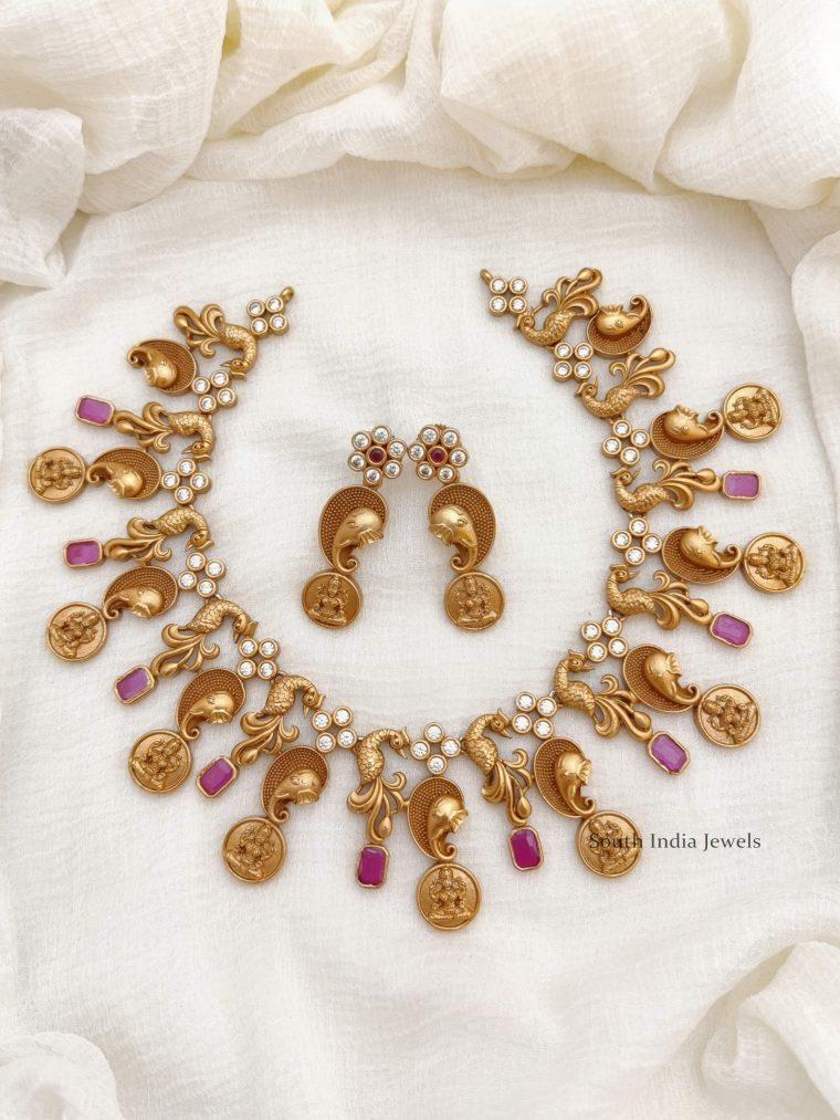Beautiful Elephant Design Lakshmi Necklace