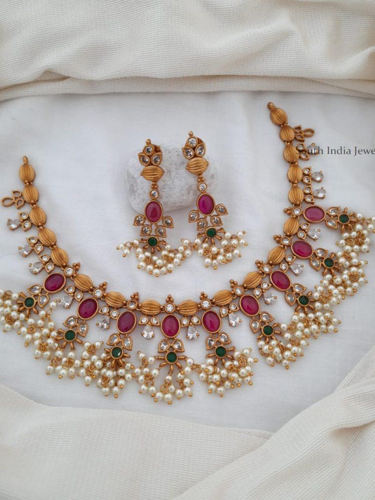 Beautiful Flower Design Guttapusalu Necklace