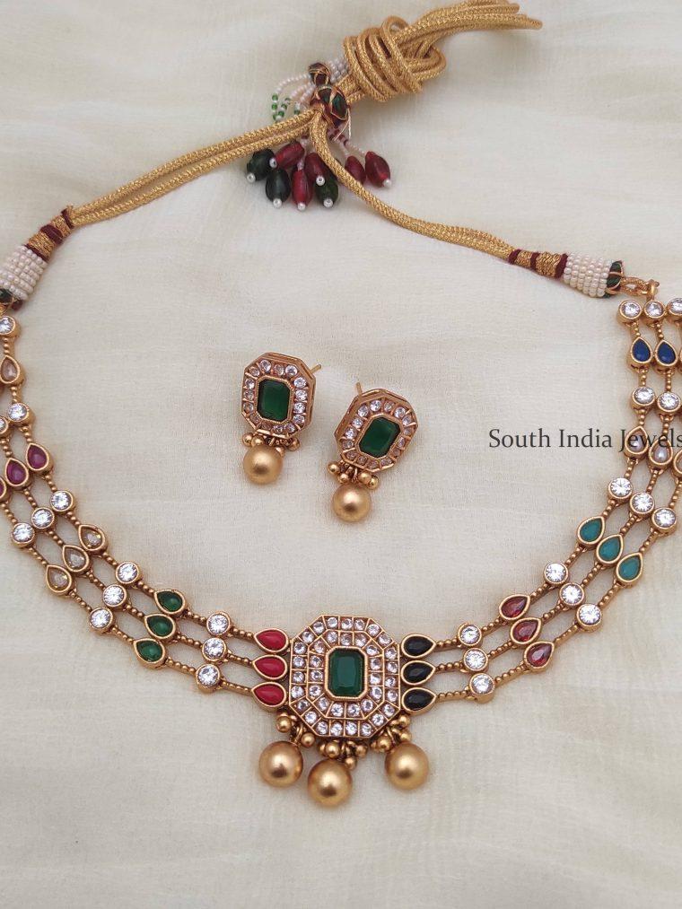 Beautiful Gold Replica Navarathna Necklace