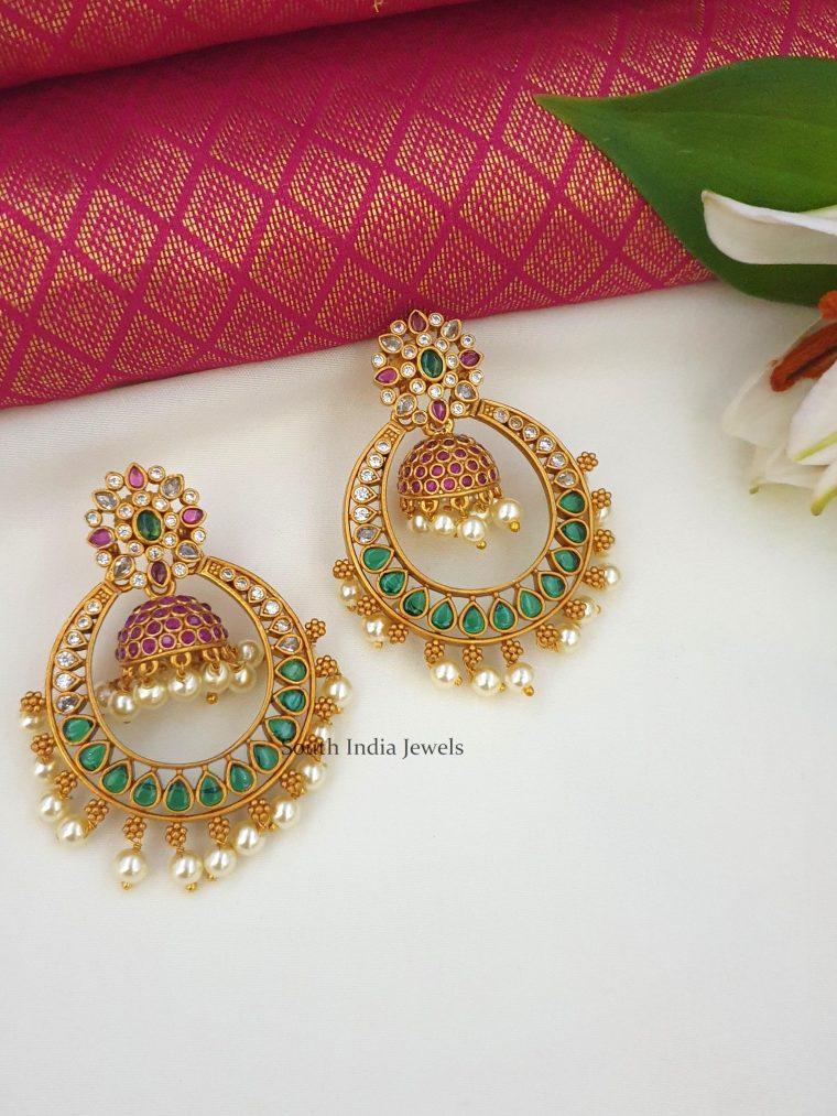 Beautiful Kemp Stone Chandbali Earrings