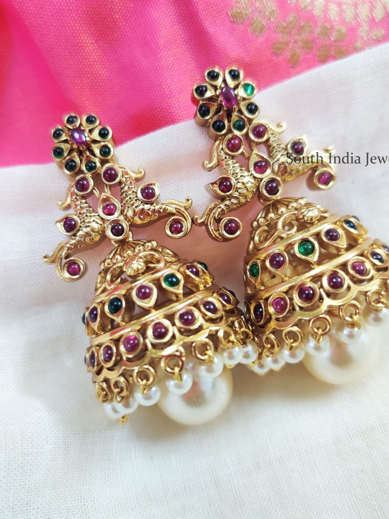 Beautiful Kemp Stone Peacock Jhumkas