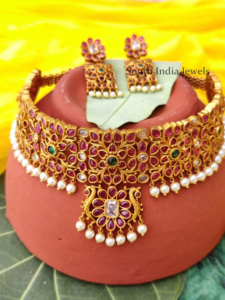 Beautiful Multi Stone with Beads Hanging Choker