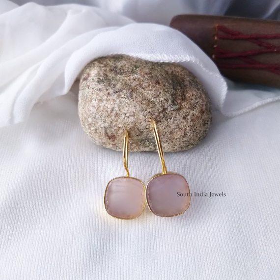 Beautiful Natural Raw Crystal Hook Earrings