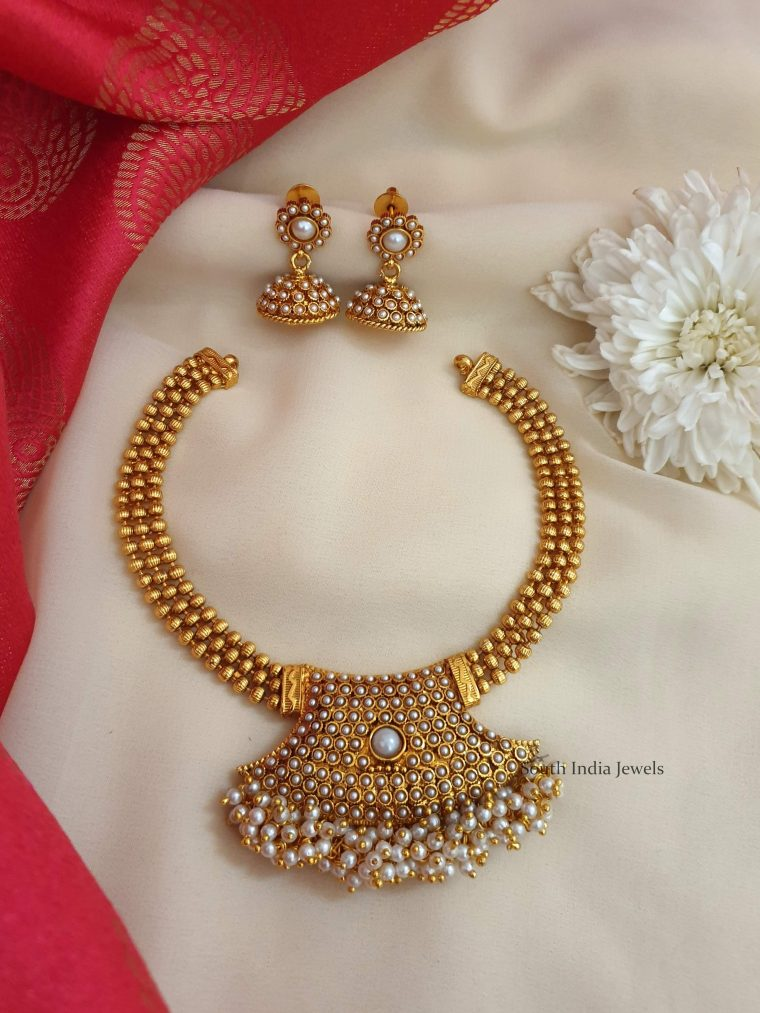 Beautiful Pearl Studded Antique Necklace