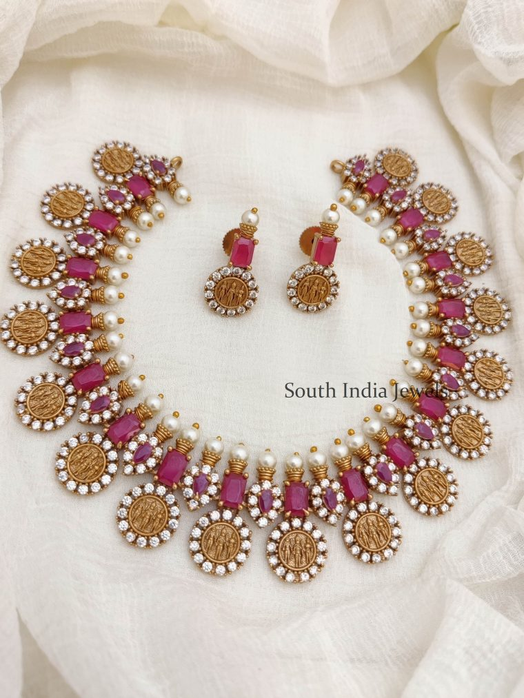 Beautiful Ruby & AD Stone Ram Parivar Necklace