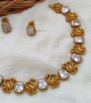 Beautiful Swan Design AD Stone Necklace (2)