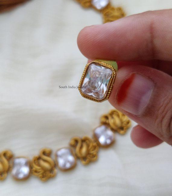 Beautiful Swan Design AD Stone Necklace (3)