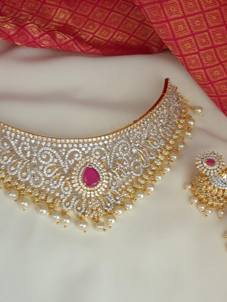Beautiful Wedding Choker with Jhumkas (2)