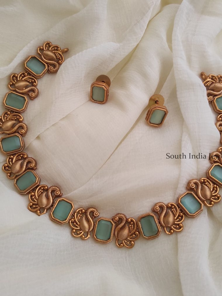 Blue Stone Swan Design Necklace