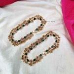 Bridal Green Stone & Beads Anklets