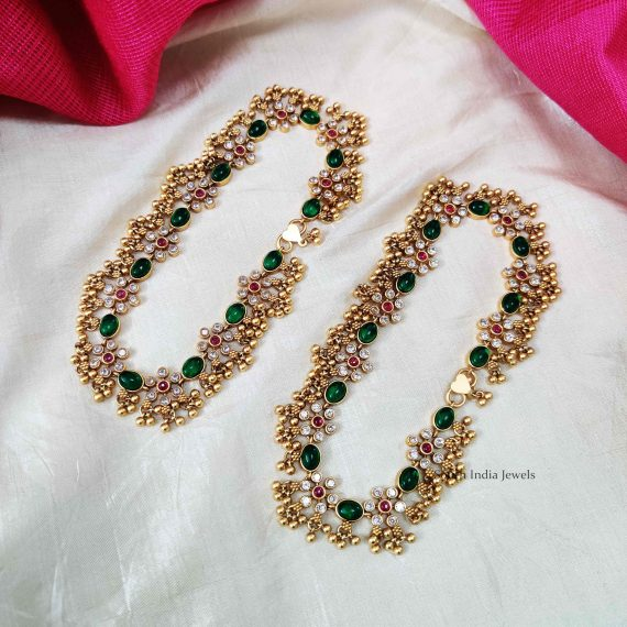 Bridal Green Stone & Beads Anklets (2)