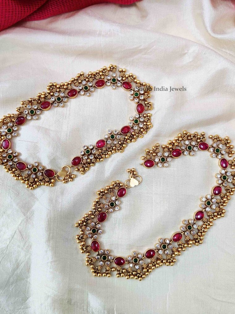Bridal Multi Color Stone & Beads Anklets