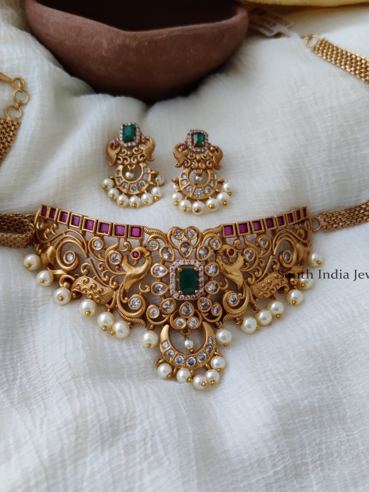Classic Peacock pearls hanging AD Choker with earring