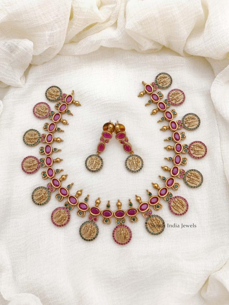Classic Ruby & Green Stone Ram Parivar Necklace