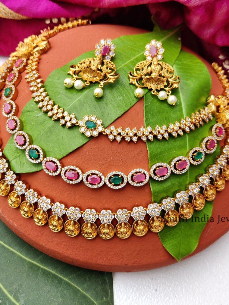 Diamond Look Like Triple Layer Lakshmi NecklaceEleghant Triple Layer lakshmi Coin Necklace