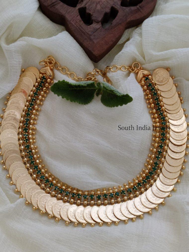 Elegant Green Stone Lakshmi Coin Necklace