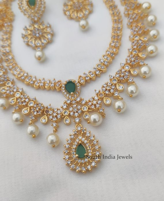 Elegant double layer White and Green stone Necklace.