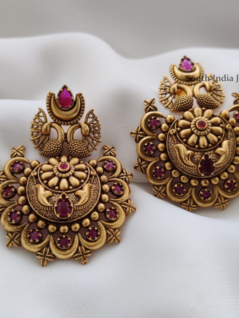 Embellished Peacock Design Earrings