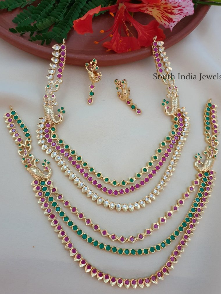 Fascinating Peacock Design Layered Necklace Set