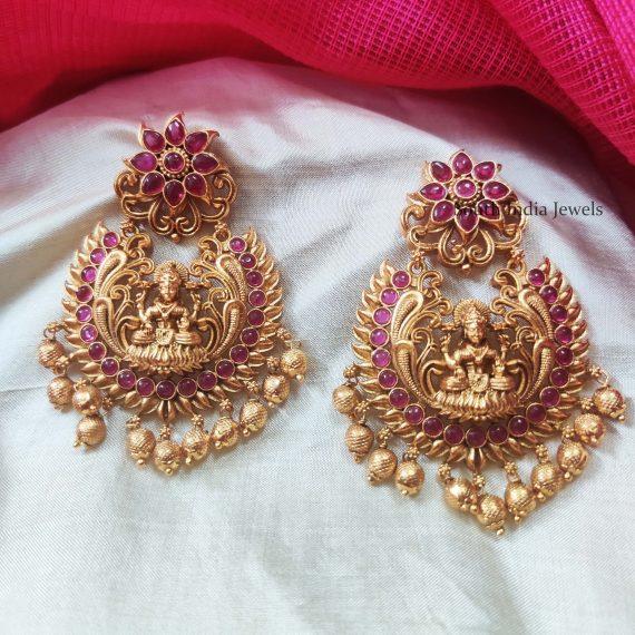 Floral Lakshmi Chandbali Earrings