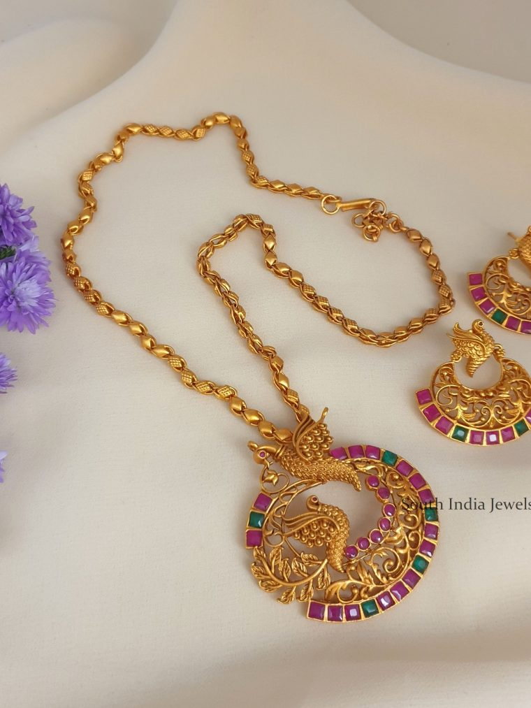 Gorgeous Design peacock Pendant with Chain