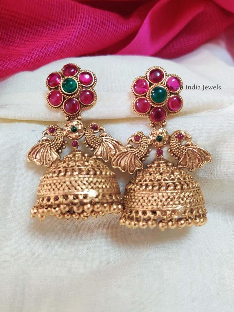 Gorgeous Peacock Design Kemp Jhumkas