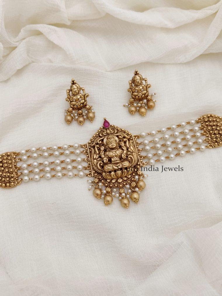 Gracious Silver Replica Lakshmi Choker