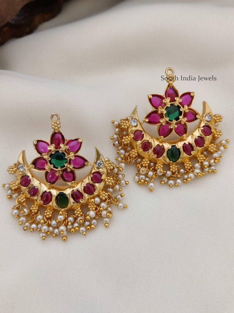 Half Moon & Flower Design Earrings