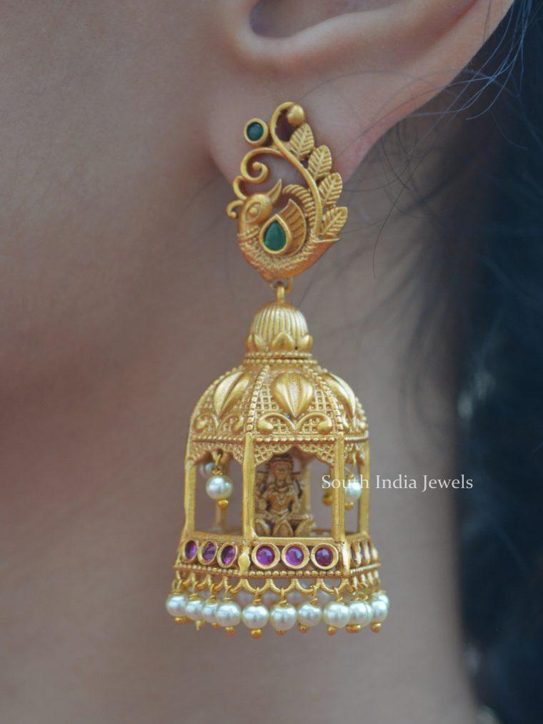 Lakshmi Gopura Peacock Jhumkas