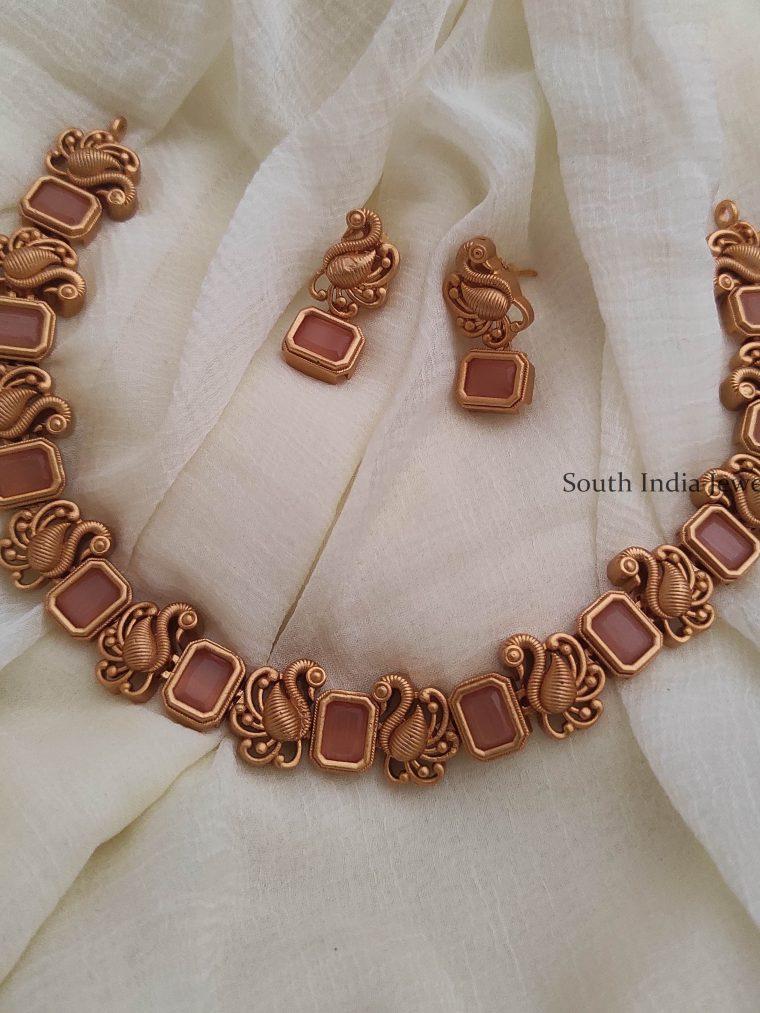 Matte Finish Peach Color Necklace
