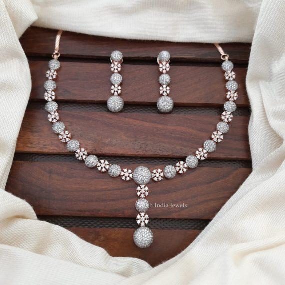 Mesmerzing Flower Design CZ Stone Necklace