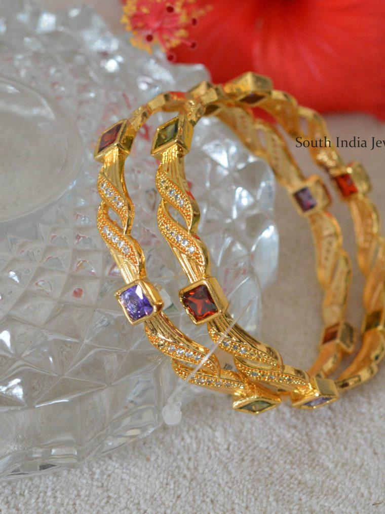 Multi Stone Gold Polish Bangles