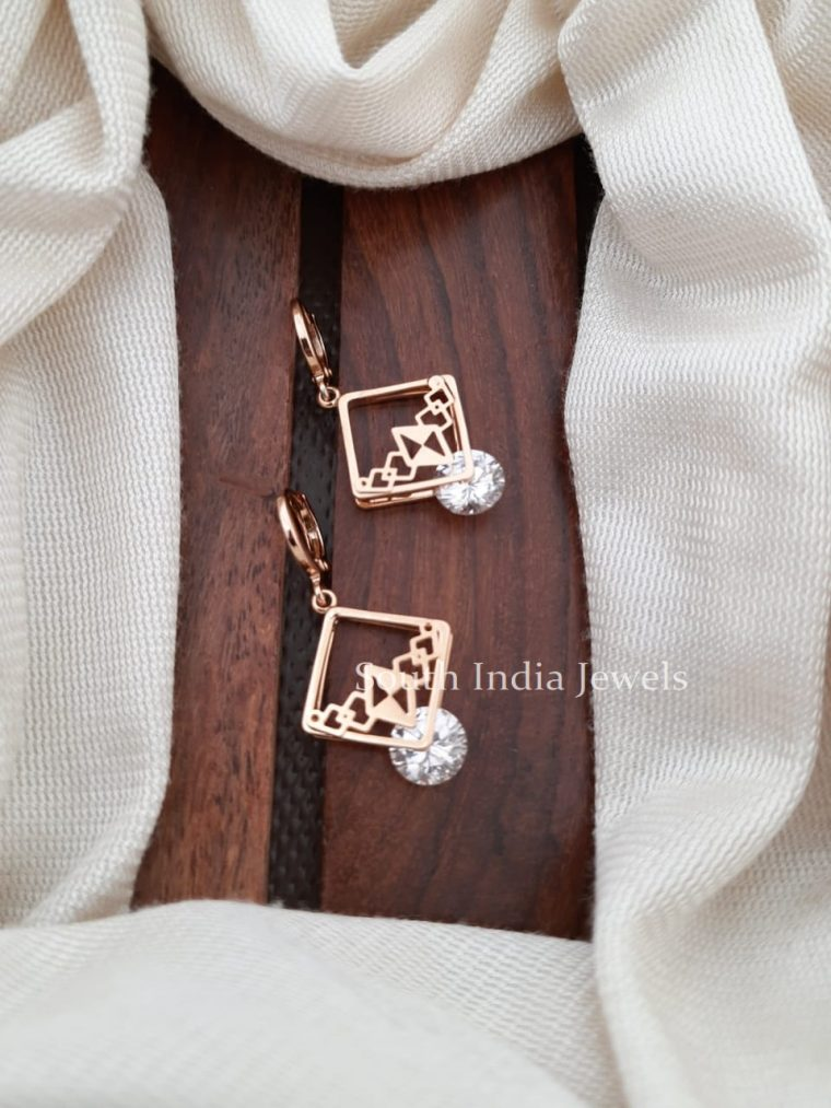 Party Wear Diamond shape CZ Stone Earrings