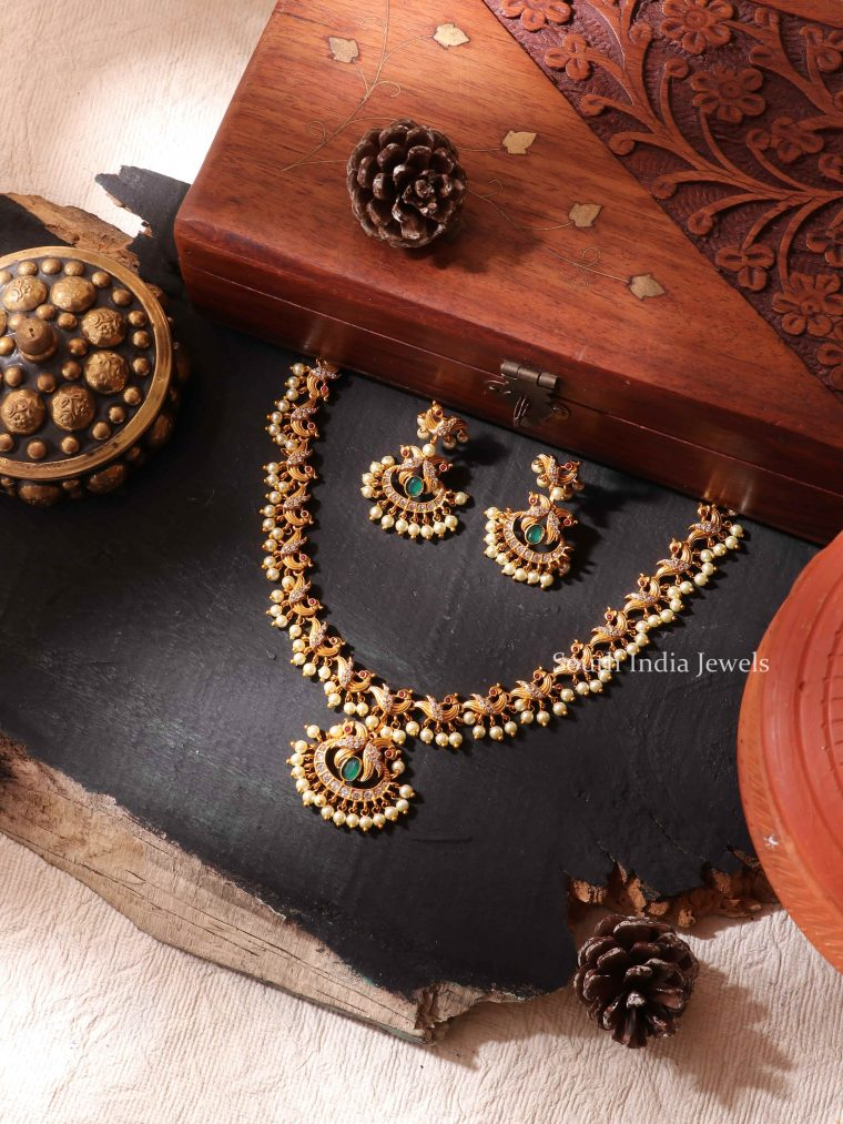 Peacock Pearls Necklace Set
