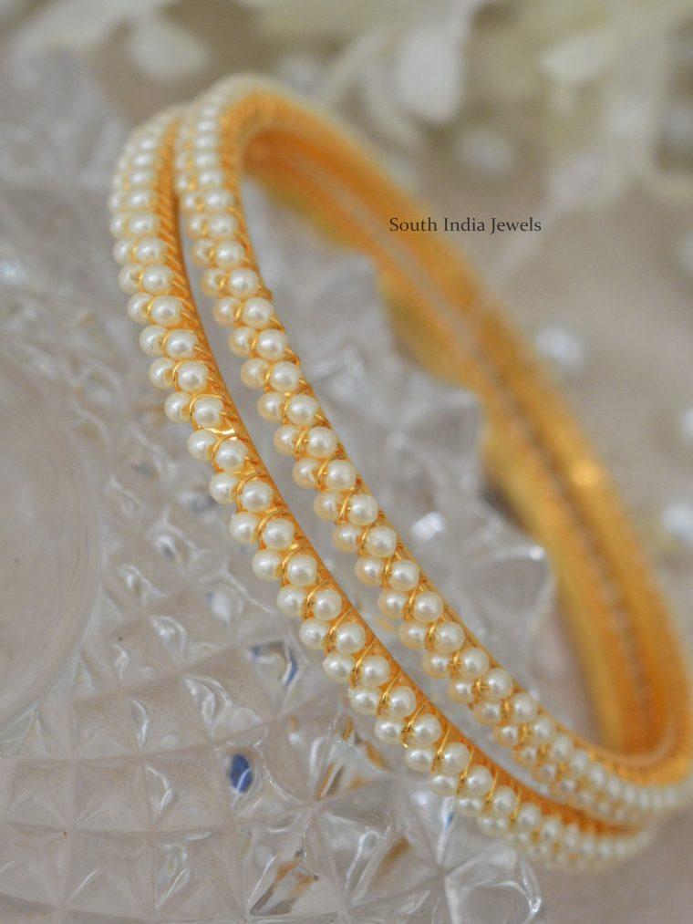 Pearl Studded Gold Polish Bangles