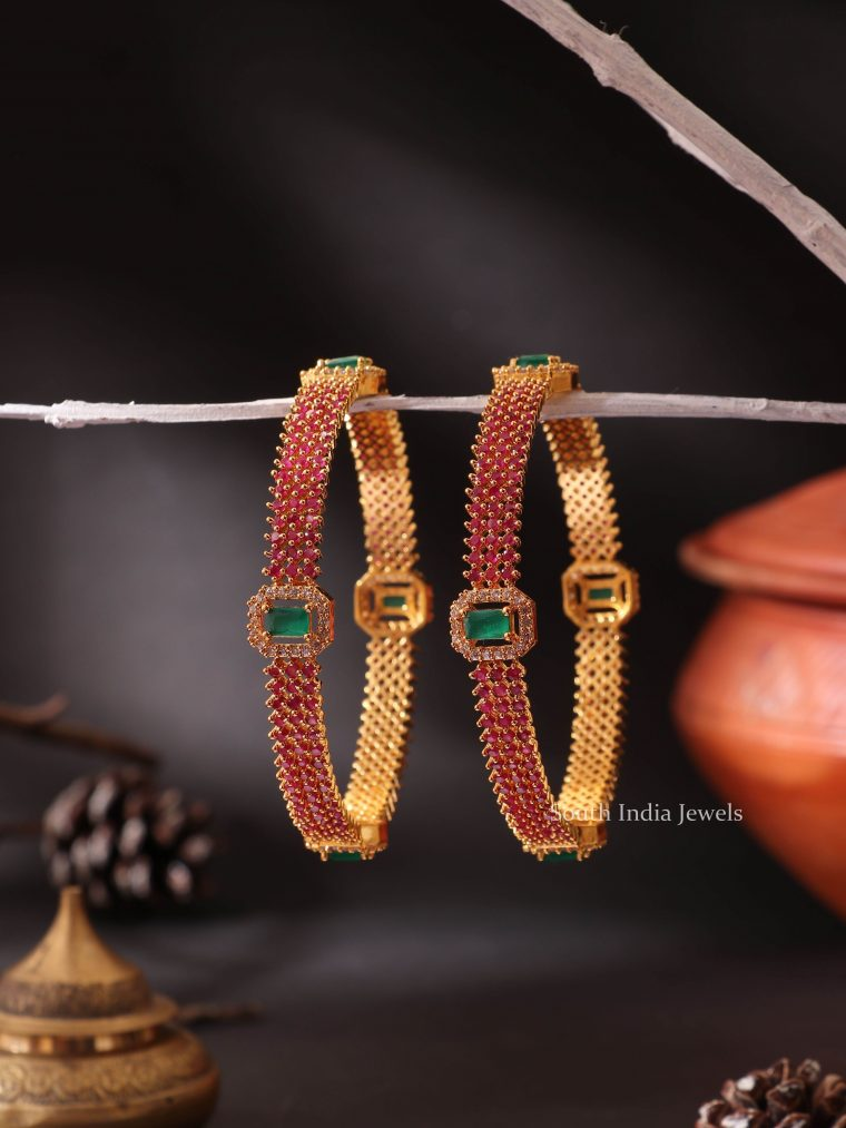 Red AD Stone Bangles with Emeralds Set